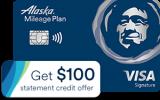 Alaska Mileage Card: $100 statement credit + 40,000 bonus mile offer