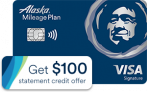 Alaska Mileage Card: $100 statement credit + 40,000 bonus mile offer